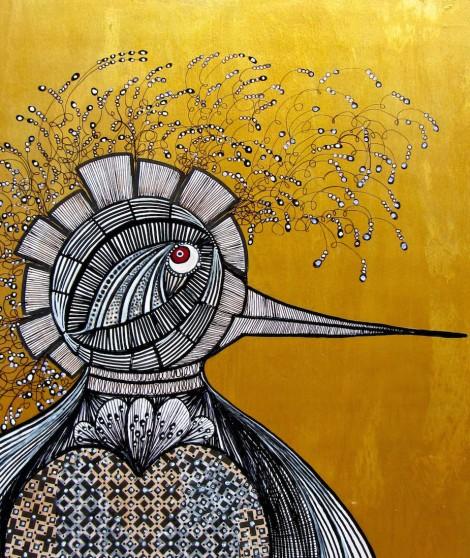 "Title: Magic Bird 2 Medium: Drawing & painting on wood panel Size: 11"" x 14"""
