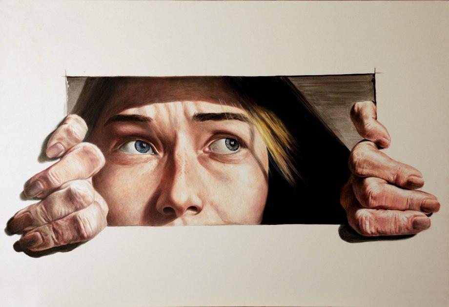 Title:Fear of herself Medium:Acrylic Size:70/100 cm