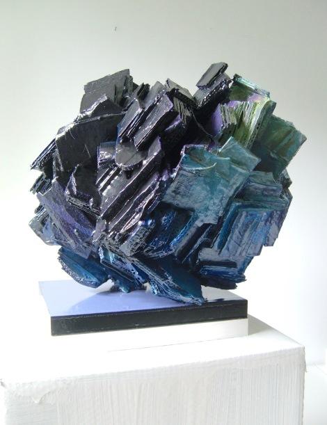 Title: Ocean Medium: sculpture,corrugated cardboard,oil paint Size: 16x13x12