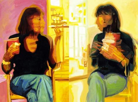 "Title: Constance Conversation Diptych Medium: Oil on Board Size: 40"" x 60"""