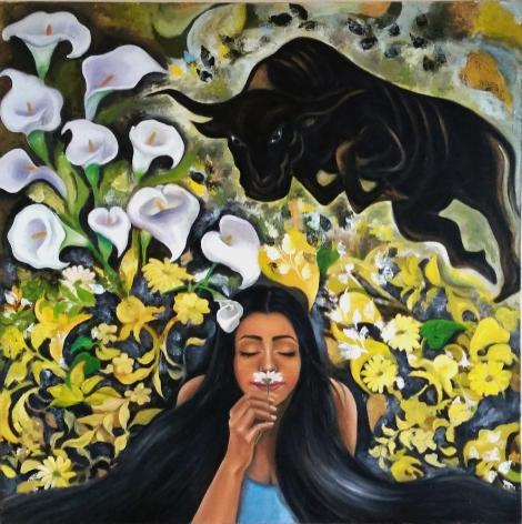 """Title Illusion Medium Oil on Canvas Size 36"""" x 36"""""""