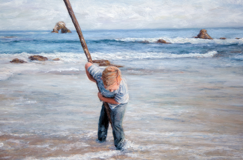 Title Big stick and Boy Medium Photography and oil painting Size 16x12