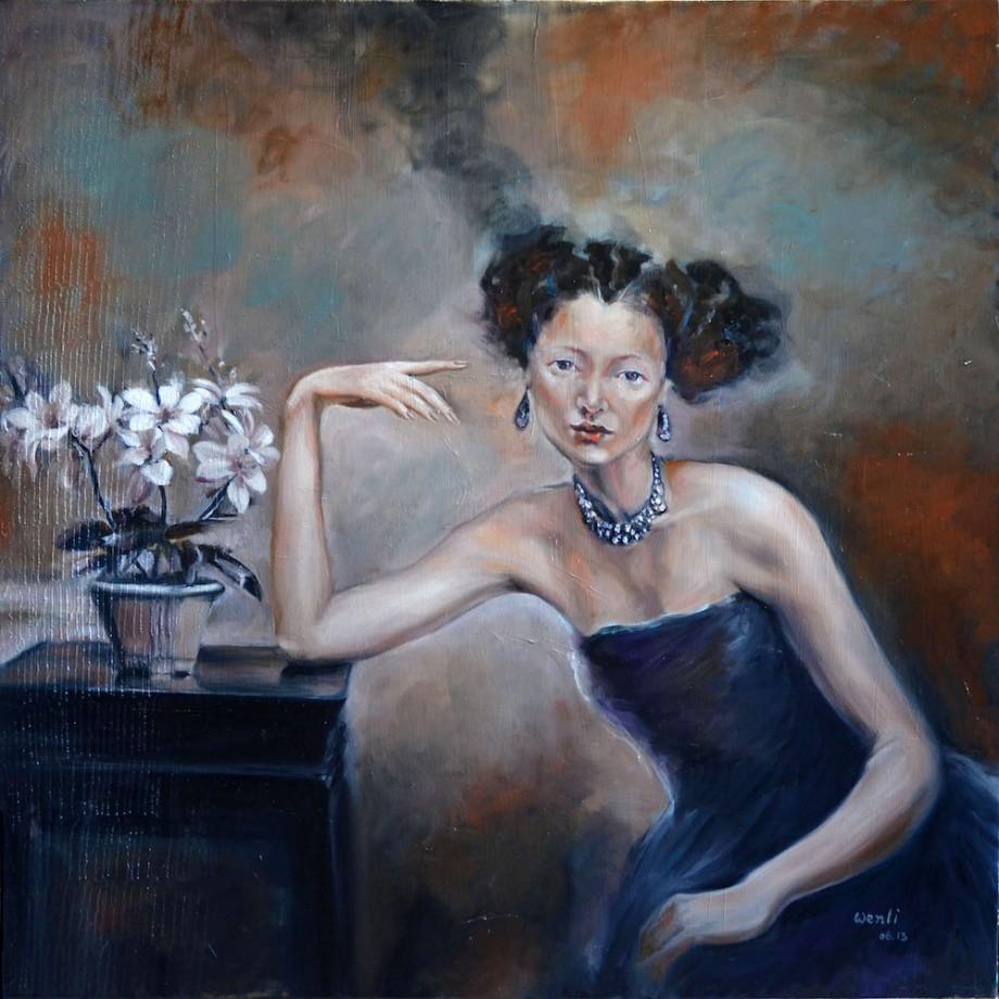"TitleLady in Blue   Mediumoil on canvas   Size36""X36"""