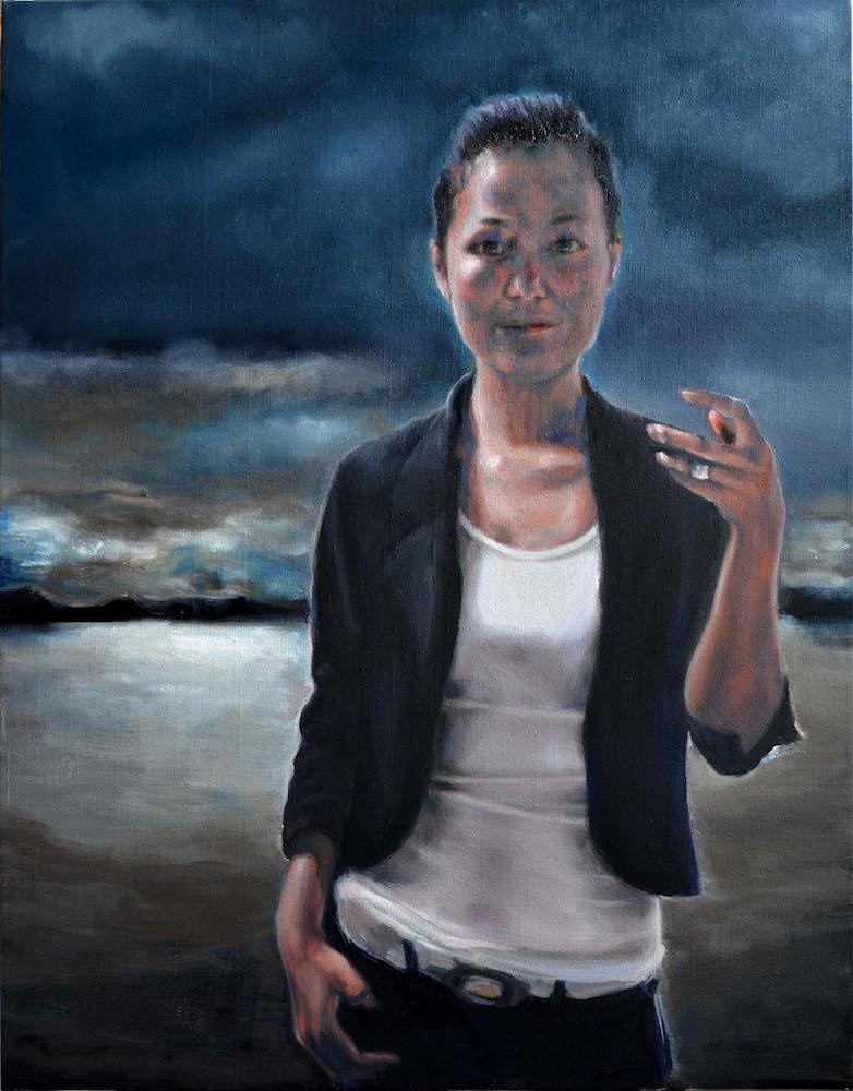 "TitleSelf-shot at dusk   Mediumoil on canvas   Size24""X36"""