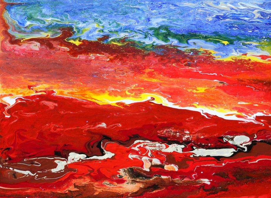 "Title:Crimson Drift Medium:Acrylic on 1/8"" Matte Board Size:18""x24"""