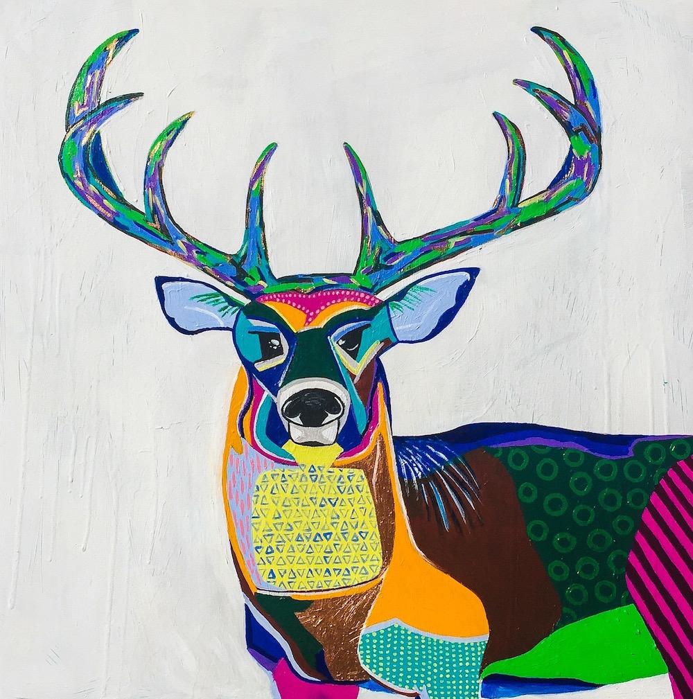 "Title: Buck Fever Medium: acrylic, spray paint Size: 36"" x 36"""