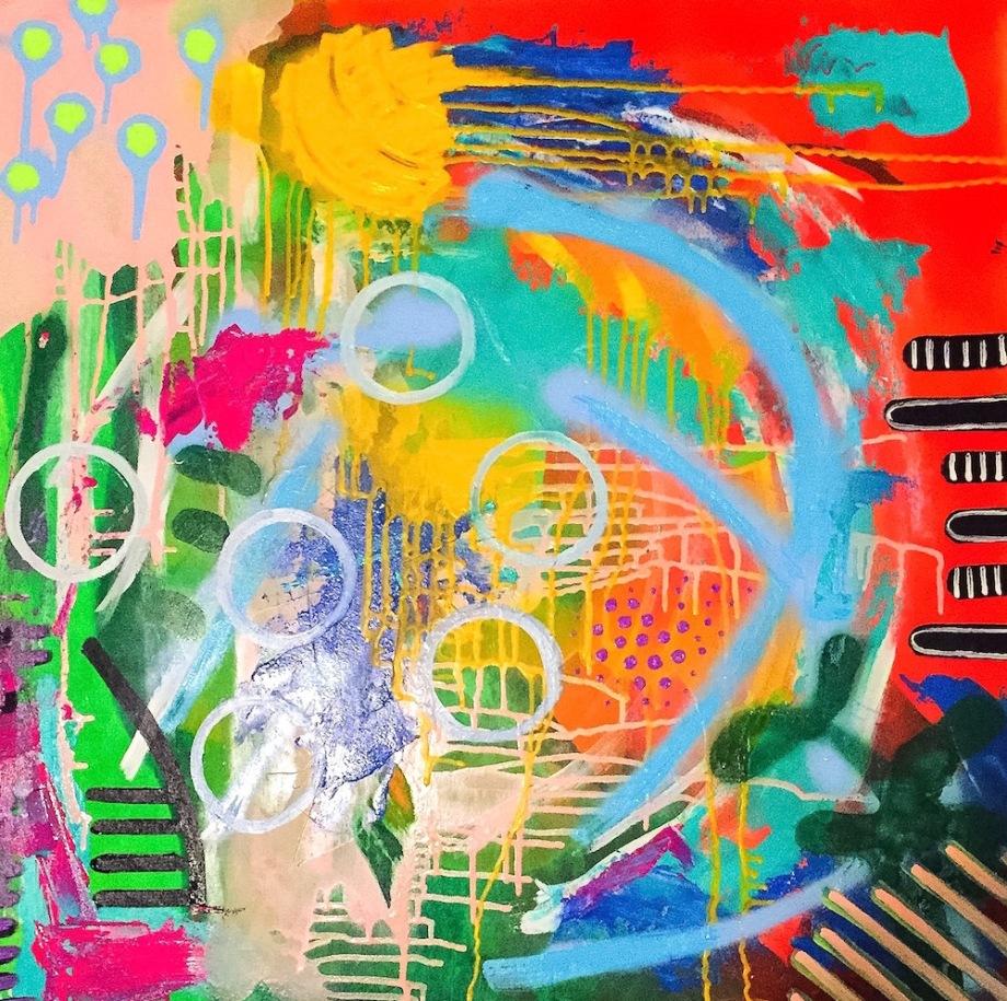 "Title:Happy Hour Medium:acrylic, spray paint Size:30"" x 30"""
