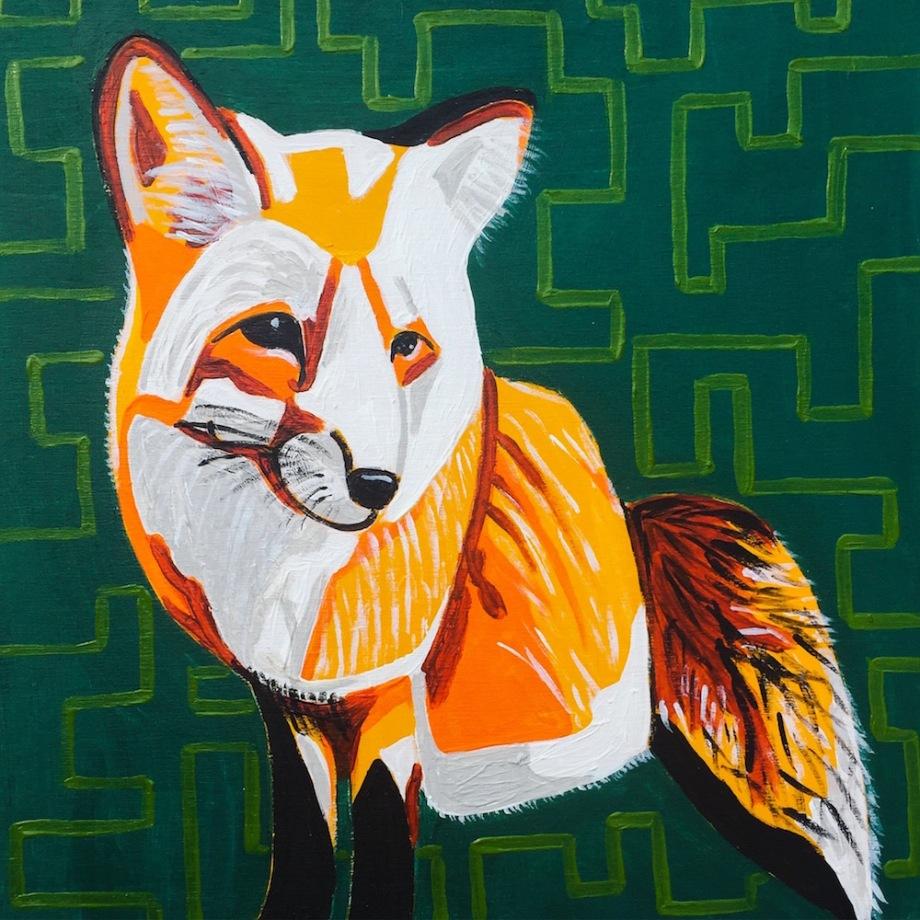 "Title:Frieda the Fox Medium:acrylic Size:10"" x 10"""