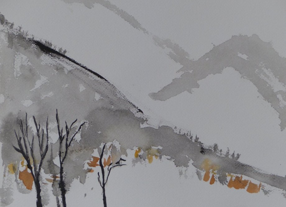"""Title:Base of Huangshan Moutain Medium:watercolor Size:9"""" x 12"""""""