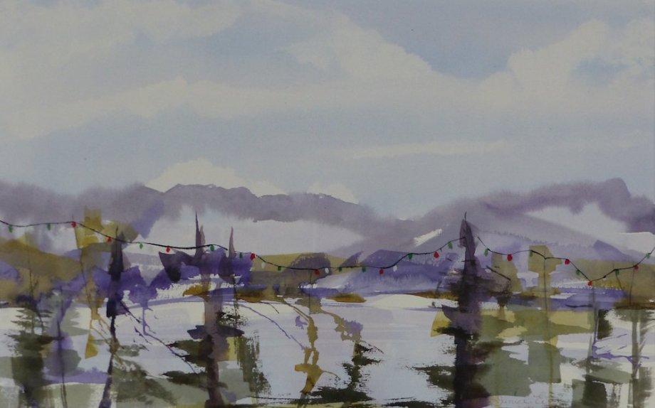 "Title:West Coast Holidays Medium:watercolor Size:15"" x 24"""