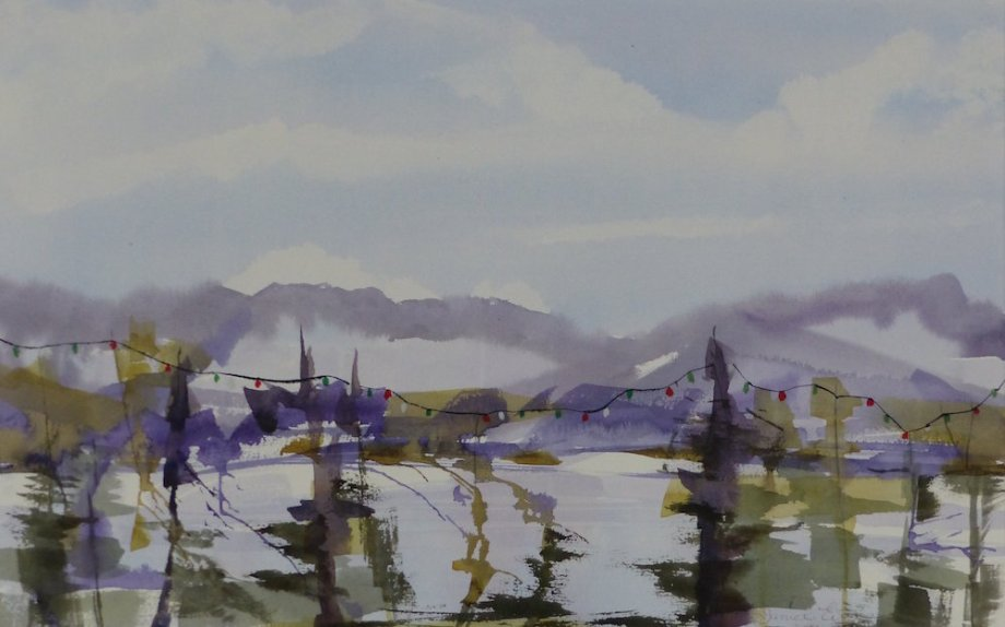 "Title: West Coast Holidays Medium: watercolor Size: 15"" x 24"""
