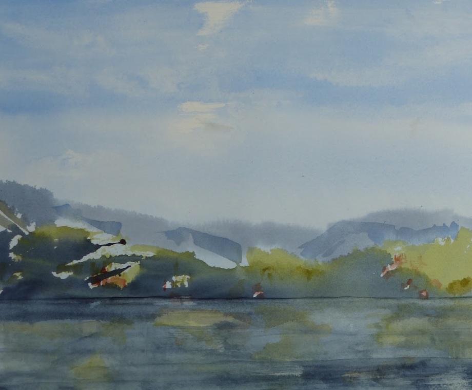 "Title:Coastal End of Day Medium:watercolour Size:14"" x 11"""
