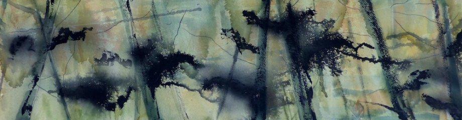 "Title:Tree Tops Medium:watercolor Size:8"" x 27"""