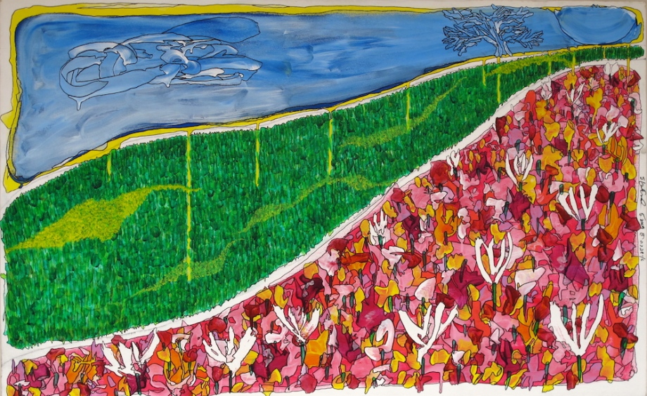"""Title:Tulips Medium:Acrylics with archival ink Size:48""""x36"""""""