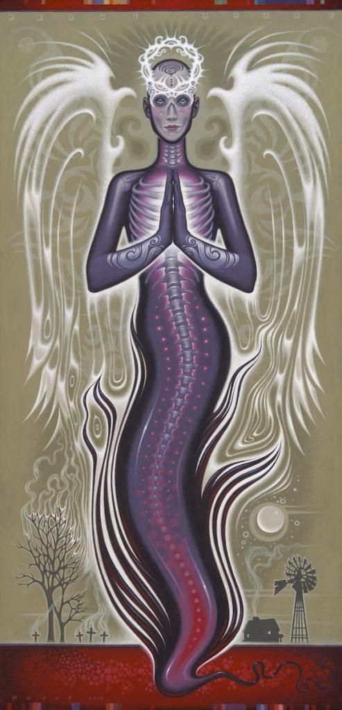 "Title:Feral Angel Medium:Acrylic on panel Size:15.5"" x 31.5"""