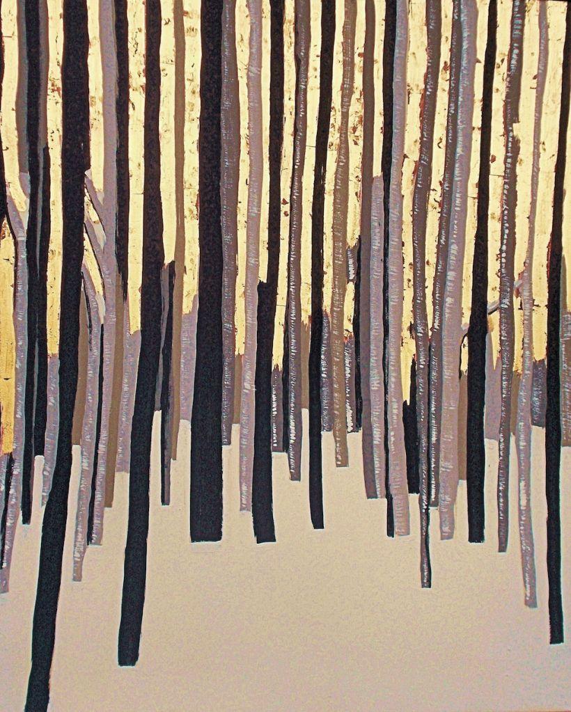 Title:Winter Gold Medium:Acrylic, 23k goldleaf Size:36x30