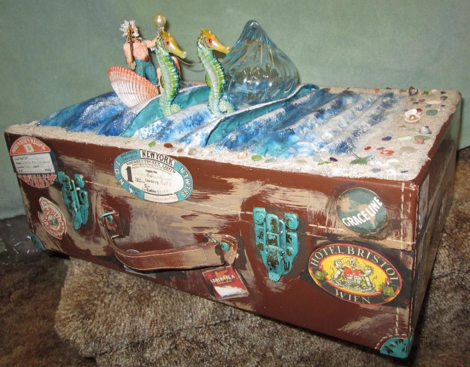 "Title:Poseidon Steamer Trunk Medium:Decoupage on suitcase Size:30""x22""x10"""