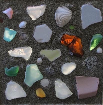 Title: Sea Glass Table Top Medium: Sea Glass Mosaic Size: 3'x1'x1'