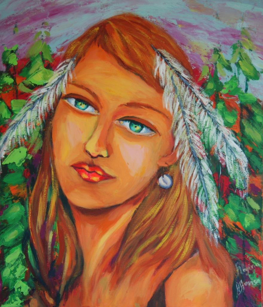 Title:native woman Medium:acrylic s/ canvas Size:60X80cm
