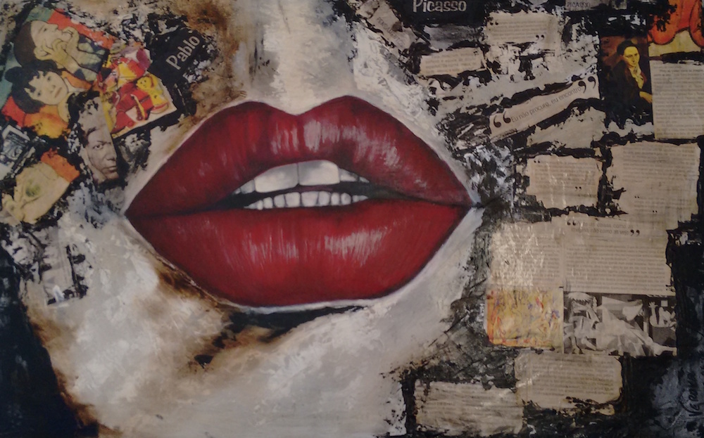 Title: My boca fala Medium: acrilico e fotografia Size: 50x80