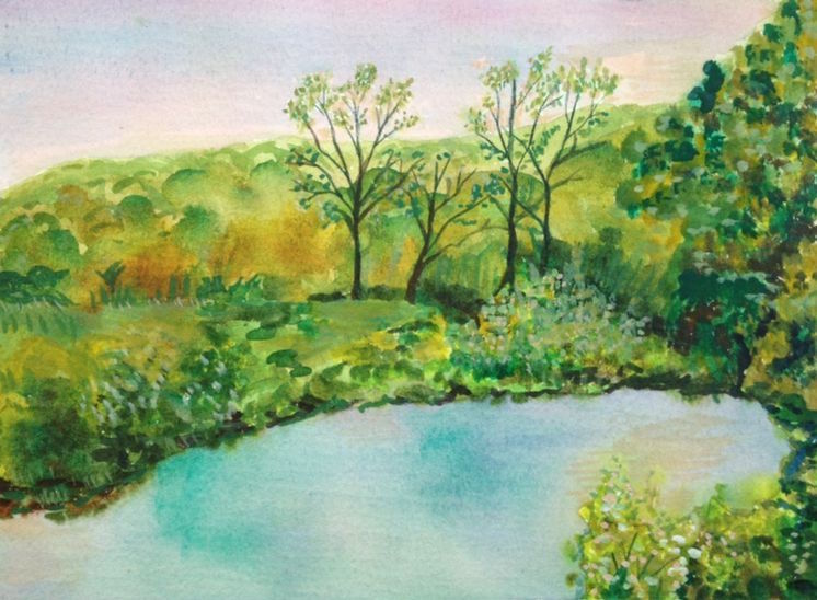 """Title:Virginia Country Medium:Watercolor Size:5 x 7"""""""