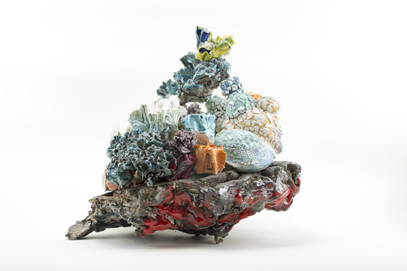 Title:Coral Stack Medium:ceramic materials, paint, & flock Size:18 x 14 x 8 inches