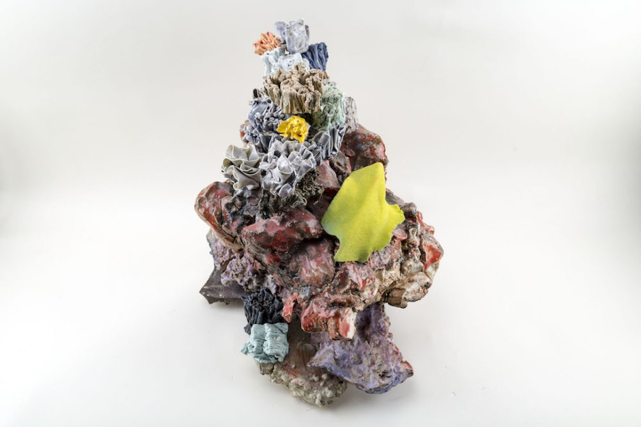 Title:Floral Conglomerate Medium:ceramic materials & flock Size:20 x 17 x 7 inches