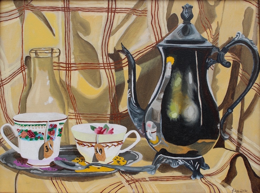 Title:Two Cups Medium:Oil Paint Size:12x16 inches
