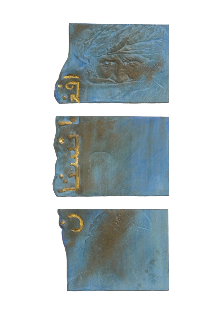 Title:REMEMBER OF A SOLDIER Medium:patinated bronze Size:9,5x12,3cm; 9,5x14,2cm; 9,5x12,2cm
