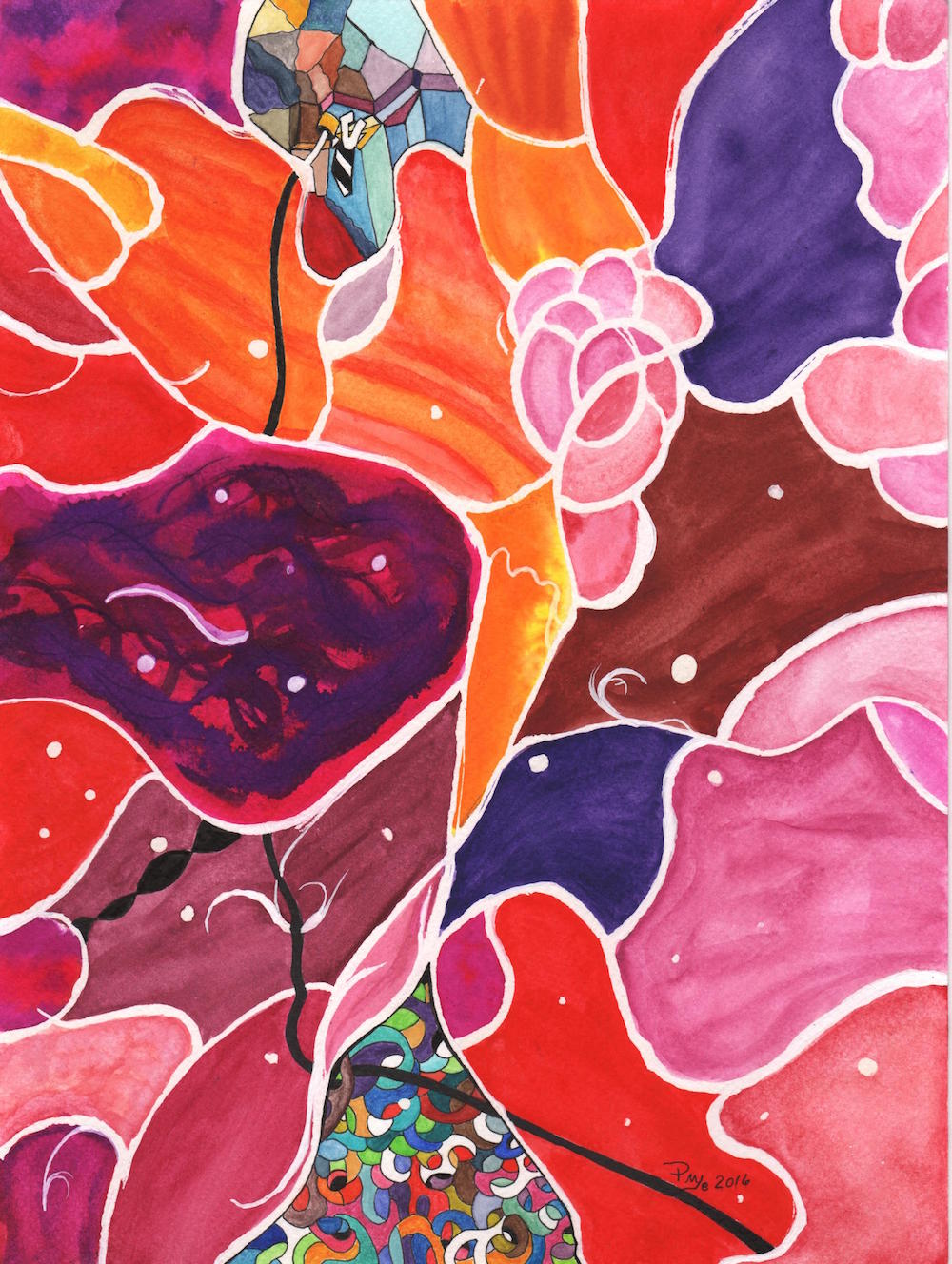 Title: Glimmer of Hope Medium: Watercolor and mixed media on paper Size: 12 x9