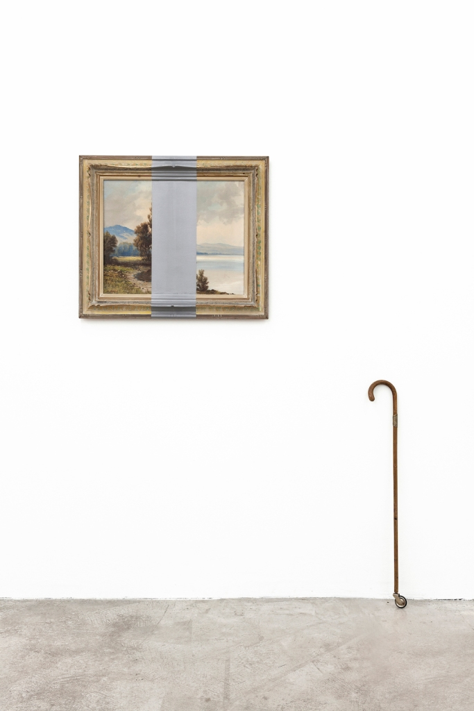 Title:Rock'n'Roll Medium:	micaceous iron colour on framed canvas (overpainting, artist: H. Meier), walking stick with brass fitting, rubber wheel Size:	190 x 170 x 15 cm