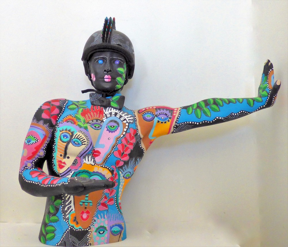 Title: Stop In The Name Of Love Medium: Recycled found objects Size: 33H x 38W 20x D