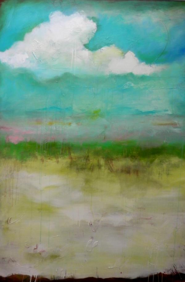 "Title:'Where the Sky Meets the Earth' Medium:acrylic on canvas Size:48"" x 60"""