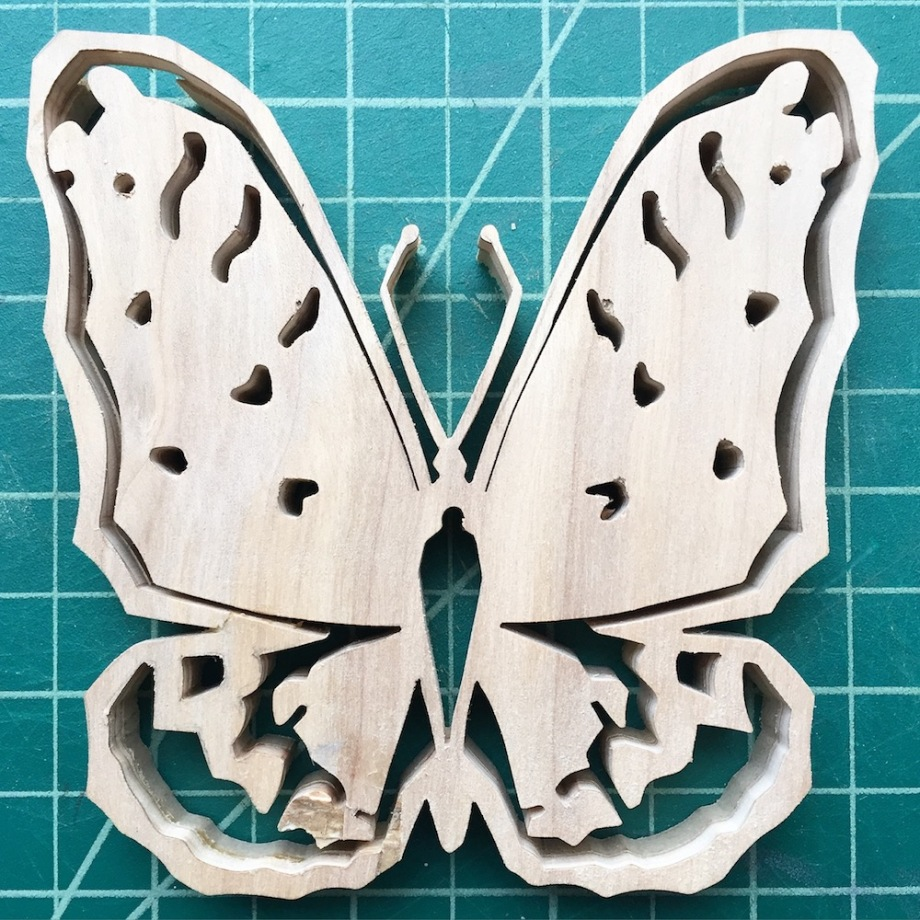 "Title:Day 280 Regal Flitillary Butterfly Medium:	Wood Size:	4""x4"""