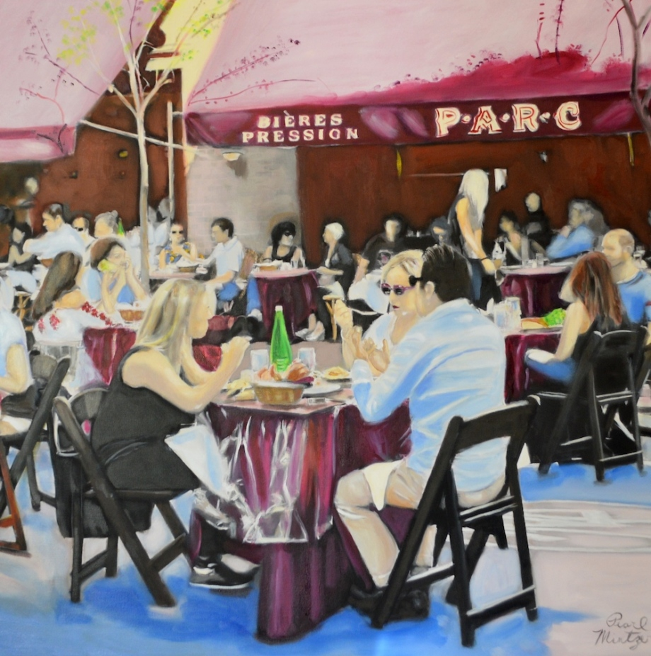 """Title:""""Feasting French Style In Philly"""" Medium:oil Size:38x38"""""""